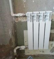 ustanovka radiatora 4 sekcii
